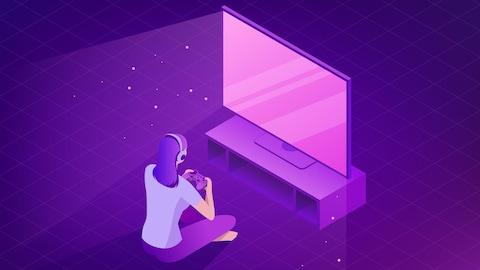 Un dessin d'une femme assise en tailleur en train de jouer à des jeux vidéo devant un grand téléviseur.