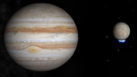 Représentation de la planète Jupiter et de la lune Europe.