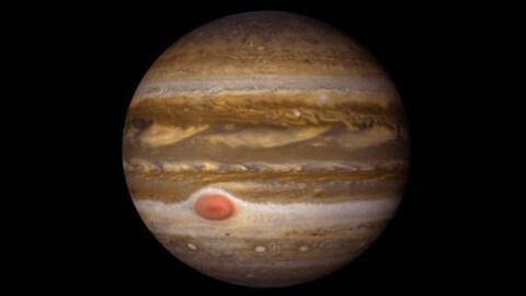 Une image de la planète Jupiter transmise par la sonde Juno.