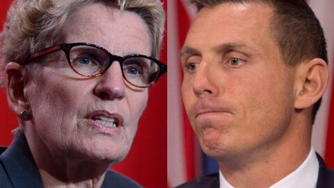 Photo en mosaïque de Kathleen Wynne et de Patrick Brown.