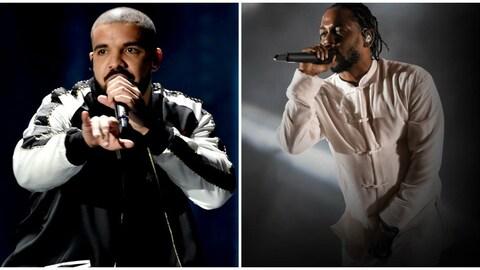Les deux hommes sont sur scène et chantent.