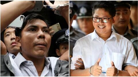 Les journalistes de Reuters Kyaw Soe Oo (gauche) et Wa Lone (droite), condamnés à sept ans de prison lundi au Myanmar.