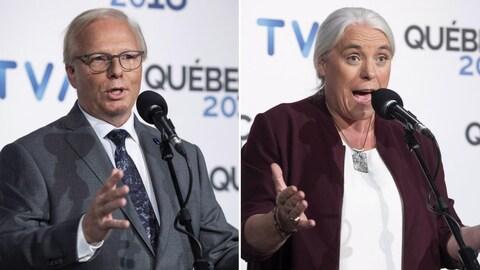 À gauche, le chef péquiste; à droite, le coporte-parole de Québec solidaire.