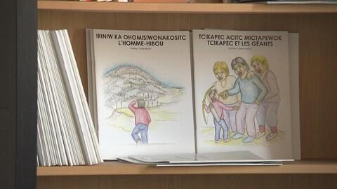 Des livres avec des titres en français et dans une langue autochtone.