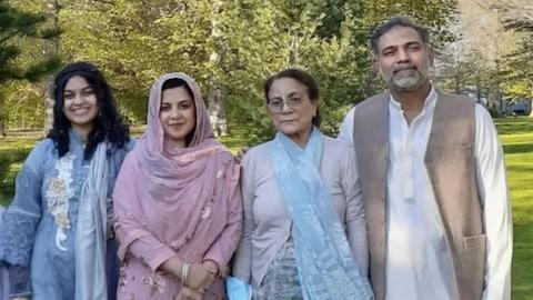 Afazaal family picture in park Yumna Afzaal, 15, left, Madiha Salman, 44, centre left, Talat Afzaal, 74.