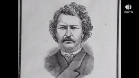 Dessin au crayon du visage de Louis Riel.