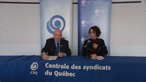 Daniel B. Lafrenière, secrétaire-trésorier de la CSQ, et Louise Chabot, présidente