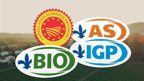 Différents logos d'appellations d'origine.