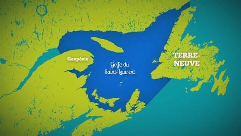 Carte de l'est du Québec avec une zone en bleu qui représente le Golfe Saint-Laurent.
