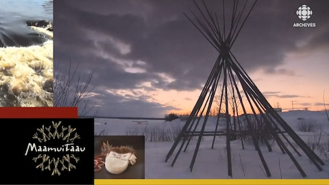 Tipi au coucher du soleil avec logo de l'émission Maamuitaau