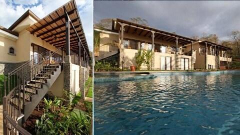 Une maison avec une piscine.