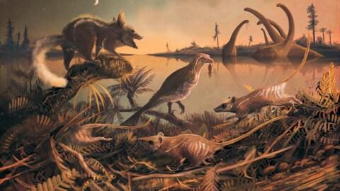 Représentation artistique des deux espèces de mammifères dans leur environnement.