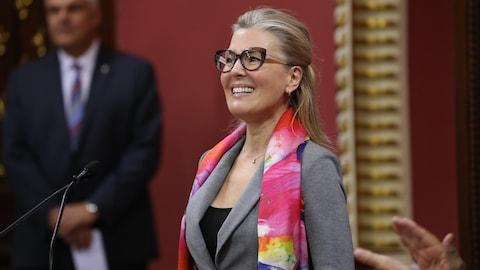 La nouvelle ministre de l'Environnement du Québec MarieChantal Chassé, lors de son assermentation.