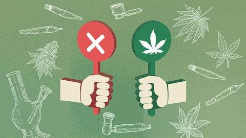 Une illustration de feuilles de cannabis et de joints, avec deux mains qui tiennent un bâton. L'un est rouge et comporte un X, l'autre est vert et a une feuille de marijuana.