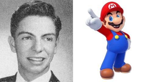 Un montage montrant une photo d'archive de Mario Arnold Segale à gauche et une image de Super Mario à droite.