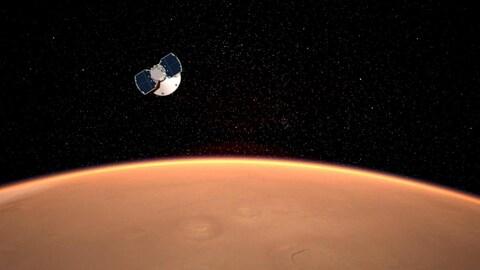 Représentation artistique de la sonde InSight s'approchant de Mars.