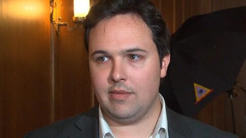 Le président de la Société Saint-Jean-Baptiste, Maxime Laporte, en entrevue