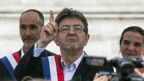 L'ex-candidat à la présidence pour La France insoumise, Jean-Luc Mélenchon, lors d'un rassemblement contre la réforme du code du travail du gouvernement Philippe.