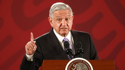 Le président du Mexique Andres Manuel Lopez Obrador lors d'une conférence de presse au palais national à Mexico.