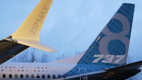 L'empennage-arrière de deux avions 737 MAX de Boeing