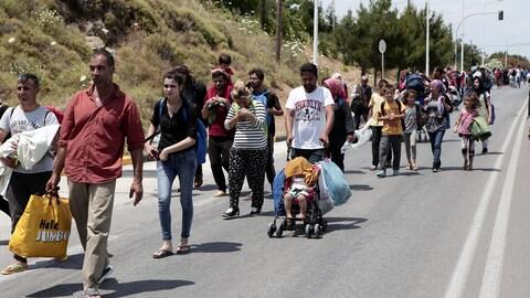 Des réfugiés et des migrants en Grèce.