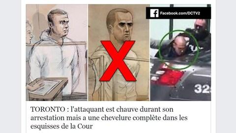 On voit deux dessins d'Alek Minassian, ainsi qu'une photo de son arrestation. «TORONTO: l'attaquant est chauve durant son arrestation mais a une chevelure complète dans les esquisses de la cour», peut-on lire.