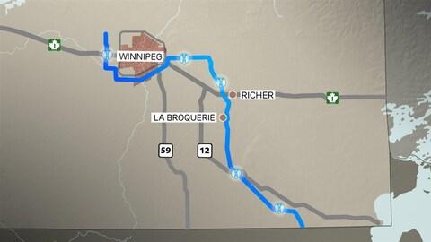 Un schéma du tracé de la ligne de transmission d'électricité entre Winnipeg et le Minnesota qui passe par les communautés de La Broquerie et Richer.