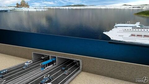 Une projection du tunnel entre Lévis et Québec