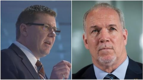 Le premier ministre de la Saskatchewan Scott Moe (gauche) et le premier ministre de la Colombie-Britannique (droite).