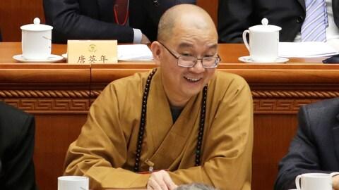 Le moine chinois Xuecheng, qui assistait à une conférence sur cette photo de mars 2016, est accusé par les autorités de harcèlement sexuel.