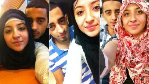 Trois photos déposées en cour de Sabrine Djermane et El Mahdi Jamali, deux ex-cégépiens accusés d'avoir voulu quitter le Canada en vue de commettre un acte terroriste à l'étranger.