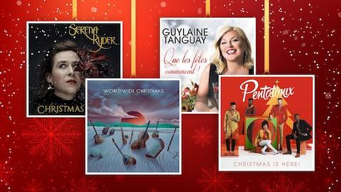 Sur fond festif, les 4 pochettes des disques s'affichent comme des décorations d'arbre de Noël.