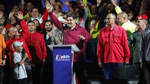 Le président du Venezuela, Nicolas Maduro, s'adresse à ses partisans à la suite de sa réélection, à Caracas, le 20 mai 2018.