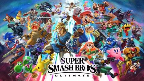 Une soixantaine de personnages de jeux vidéo en train de tomber. Dans le bas de l'image, au centre, on peut voir le logo de Super Smash Bros Ultimate.
