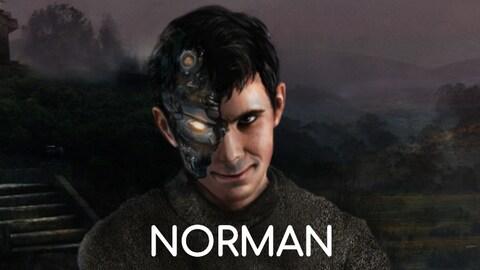 Une représentation artistique de l'algorithme Norman montrant un jeune homme aux cheveux foncés et au regard inquiétant dont la moitié du visage est écorchée et laisse deviner une tête de robot sous la peau.
