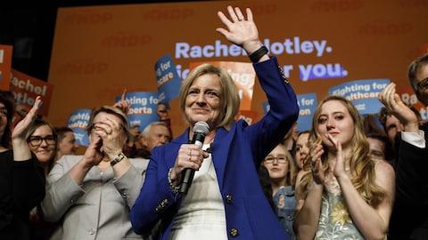 Rachel Notley, lors du son discours de défaite en 2019 à Edmonton.