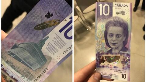 Les deux faces du nouveau billet de 10$.