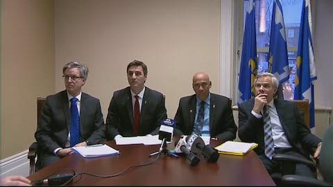 Jean Rousseau, de Démocratie Québec, Jean-François Gosselin et Stevens Melançon, de Québec 21, ainsi que Raymond Dion, conseiller indépendant