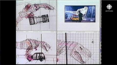 Écran d'un ordinateur montrant le travail d'animation sur une scène avec un dinosaure et un véhicule avec le logiciel Softimage.