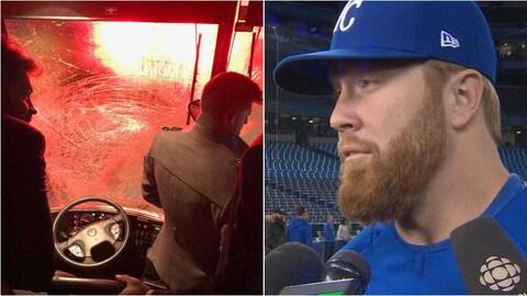 Deux images justaposées montrant le pare-brise d'un autobus ainsi que le portrait d'un homme