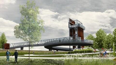 La passerelle voulue par l'ancienne mairesse Caroline St-Hilaire sera deux fois plus longue, éclairée et dotée d'un belvédère pour une vue sur le fleuve et le Vieux-Longueuil.