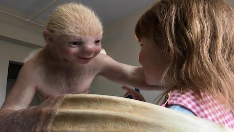 une créature enlace une enfant  dans une chambre d'hôtel