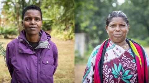 Les deux militantes autochtones, Pavitri Manjhi et Nonlhe Mbuthuma, des Marathons d'écriture 2018 d'Amnistie internationale.