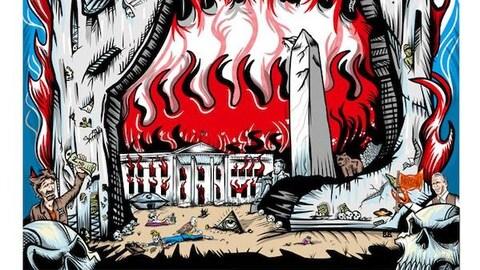 Affiche présentant la Maison-Blanche en flammes et un aigle en train  de picorer un squelette qui ressemble à Donald Trump.