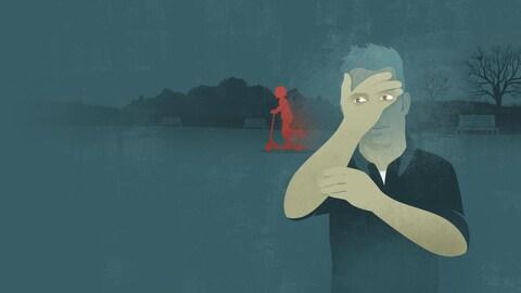Illustration représentant un pédophile qui regarde passer un enfant sur une trottinette. L'homme masque son visage avec sa main, mais ses yeux suivent l'enfant qui se balade dans le parc.