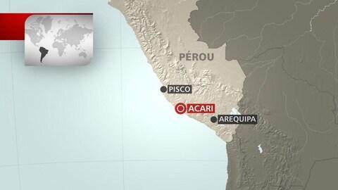 Une carte de l'endroit où s'est produit le séisme, au Pérou.