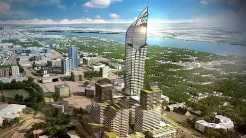 Le projet comprend un gratte-ciel de 65 étages et quatre bâtiments dans sa première version présentée en 2015.