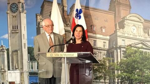 La mairesse de Montréal, Valérie Plante, et le maire de Beaconsfield, Georges Bourelle.