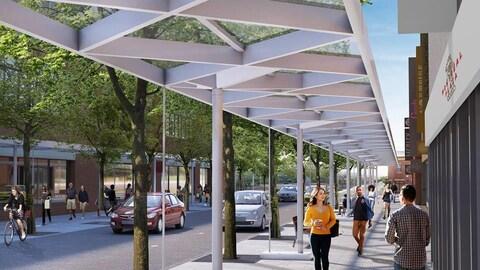 Conceptualisation du plan d'ensemble de la Plaza réaménagée.