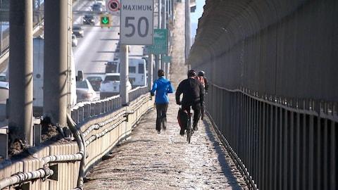 Entre 60 et 100 cyclistes empruntent la piste du pont Jacques-Cartier chaque jour en hiver, même si cela est interdit.